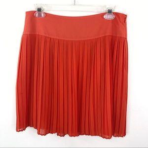Ann Taylor Loft Coral Orange Pleated Chiffon Skirt